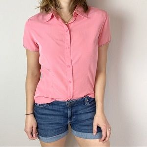 The North Face coral pink button down